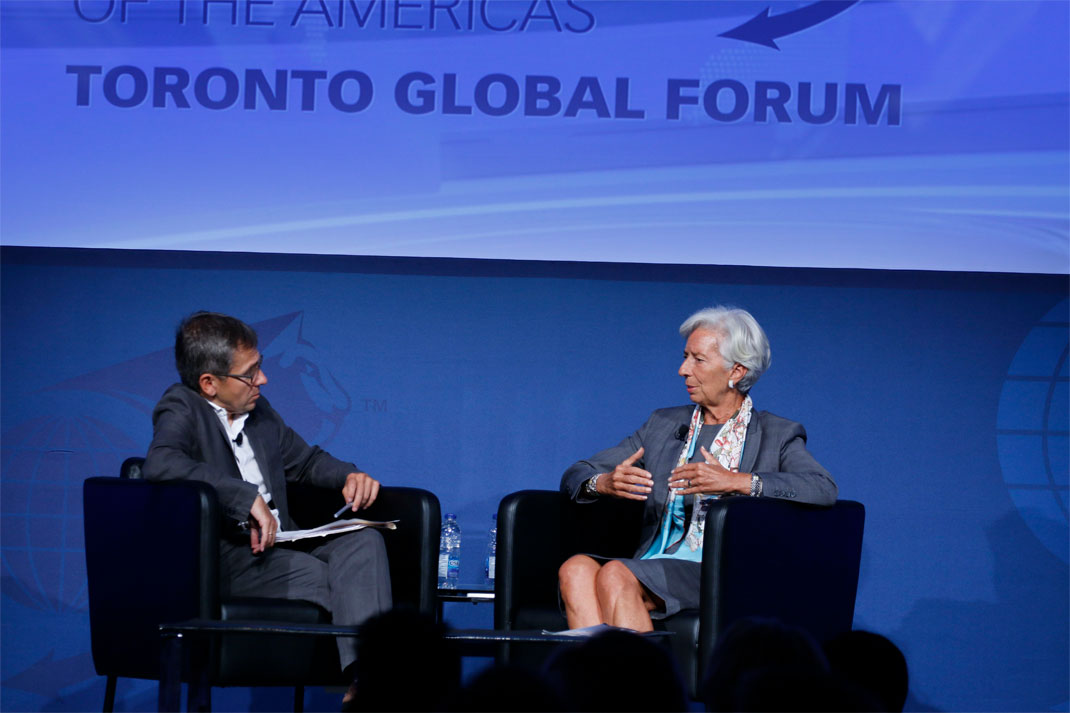 Christine Lagarde, Managing Director, International Monetary Fund (IMF), being interviewed by Ian Bremmer - Toronto Global Forum 2016