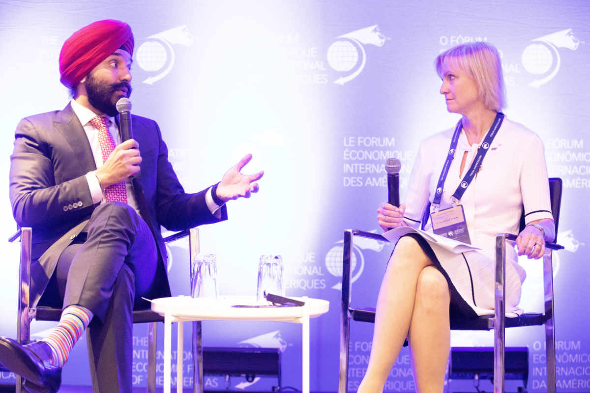 Navdeep Singh Bains, Minister of Innovation, Science and Economic Development, Canada and Anne-Marie Hubert, Managing Partner, Québec, EY - Conference of Montreal 2019