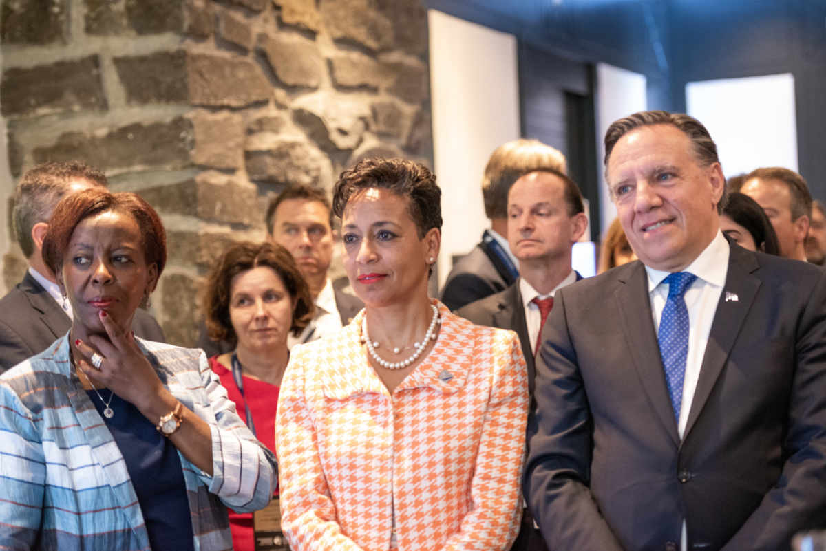 Louise Mushikiwabo, Secretary General of La Francophonie; Nadine Girault, Minister of International Relations and La Francophonie, Québec and François Legault, Premier of Québec - Conference of Montreal 2019