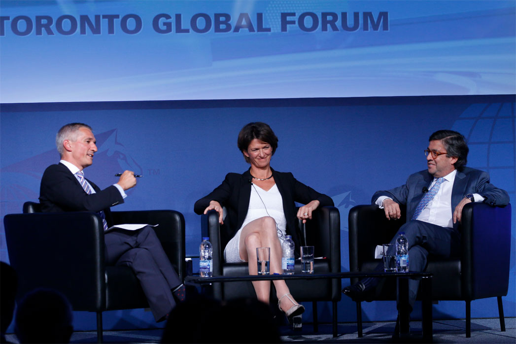 Isabelle Kocher, CEO, ENGIE and Luis Alberto Moreno, President, Inter-American Development Bank (IDB) being interviewed by Christopher Frei - Toronto Global Forum 2016
