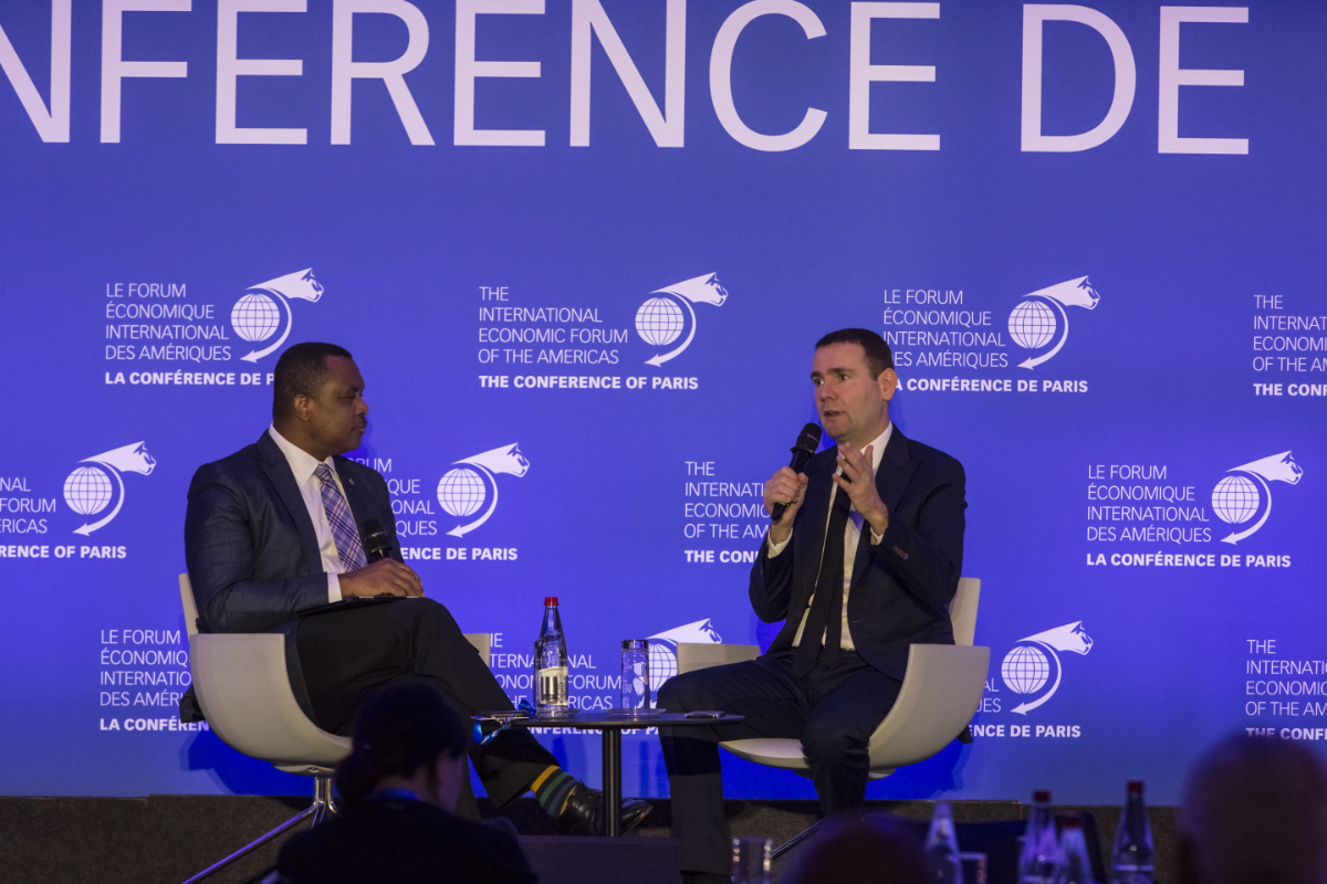 John E. Yearwood, Executive Board, International Press Institute; and Former World Editor, Miami Herald & Alexandre Ricard, Chairman and Chief Executive Officer, Pernod Ricard - Conference of Paris 2018