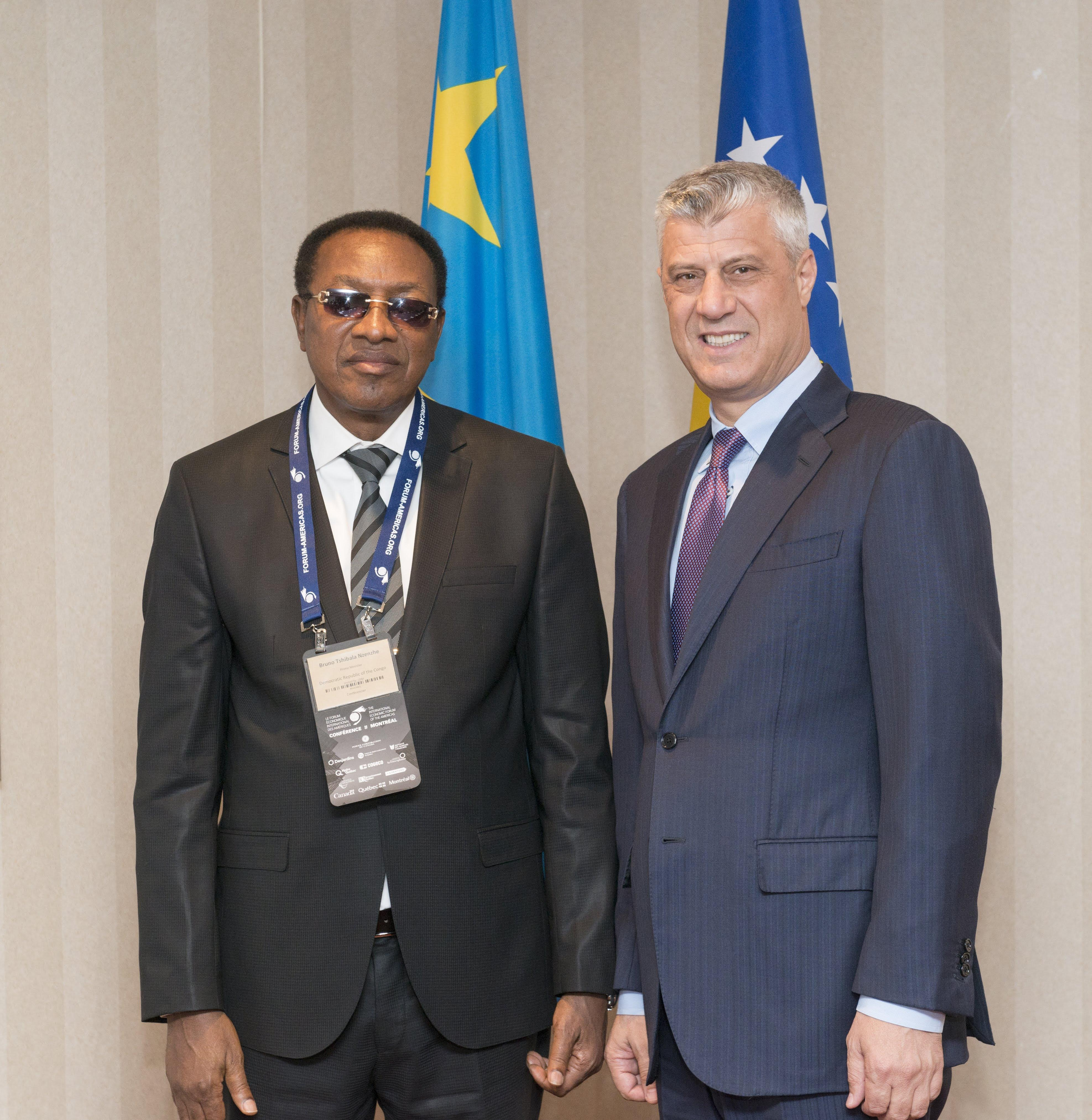 Bruno Tshibala Nzenze, Prime Minister of the Democratic Republic of the Congo and Hashim Thaçi, President of Kosovo - Conference of Montreal 2018
