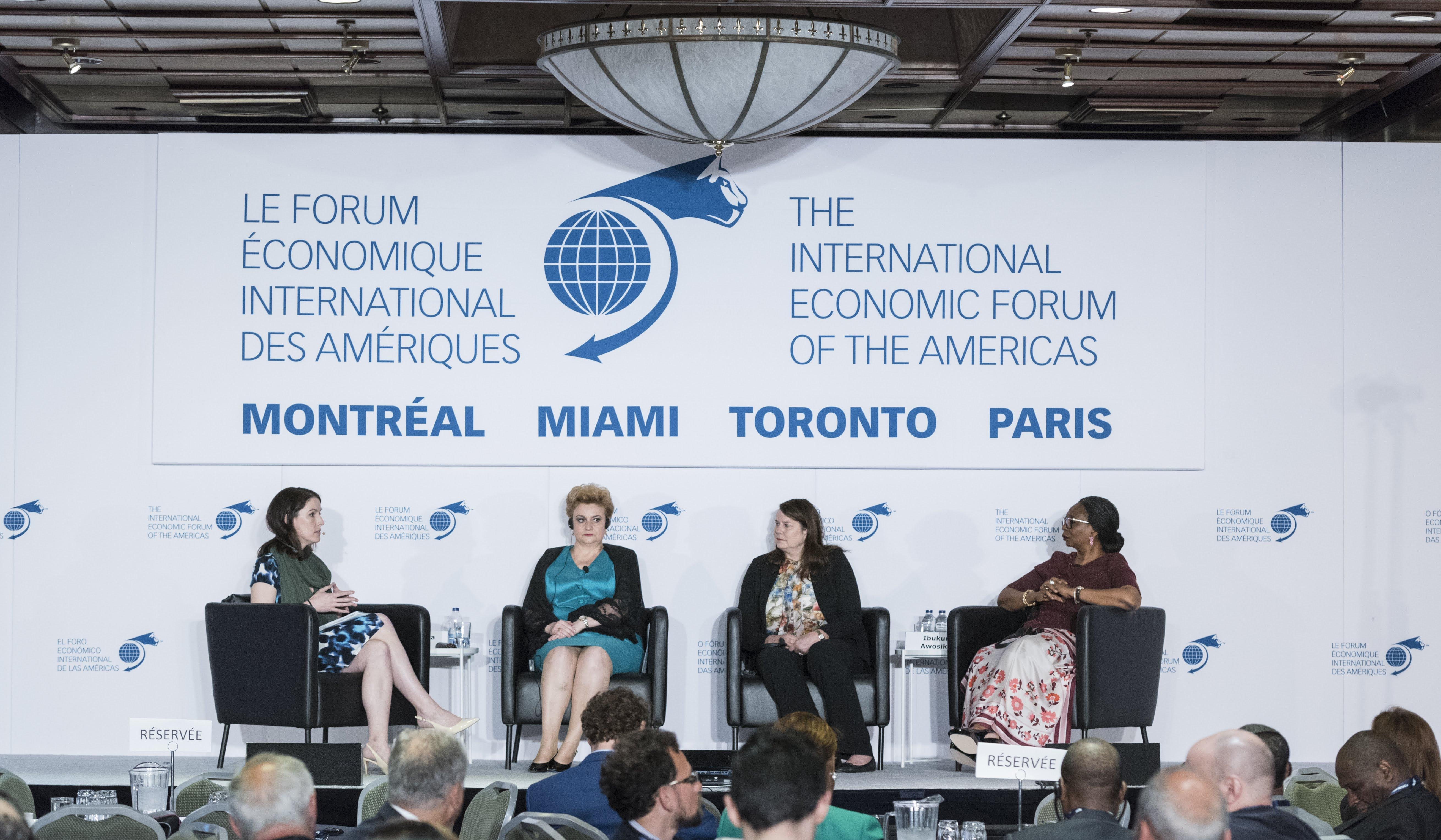 Graţiela Leocadia Gavrilescu, Vice-Prime Minister and Minister of Environment, Romania,  Ibukun Awosika, Chairman, First Bank of Nigeria amd Jane Buchan, CEO, PAAMCO- Conference of Montreal 2018