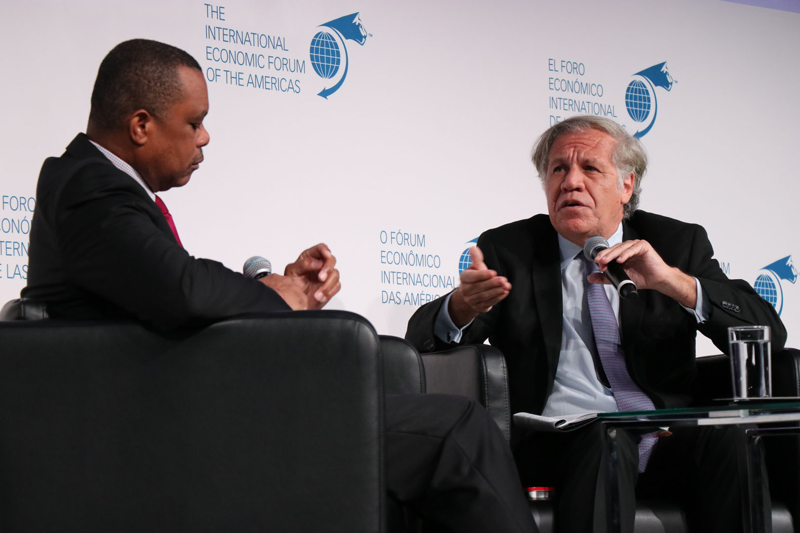 Luis Almagro Lemes, Secretary General, Organization of American States (OAS) and John Yearwood, Executive Board, International Press Institute; and former World Editor, Miami Herald