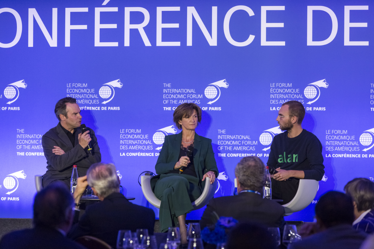 Isabelle Kocher, CEO, ENGIE; Jean-Charles Samuelian, Co-Founder and CEO, Alan and David Barroux, Editor-in-Chief, Les Échos - The Conference of Paris 2018