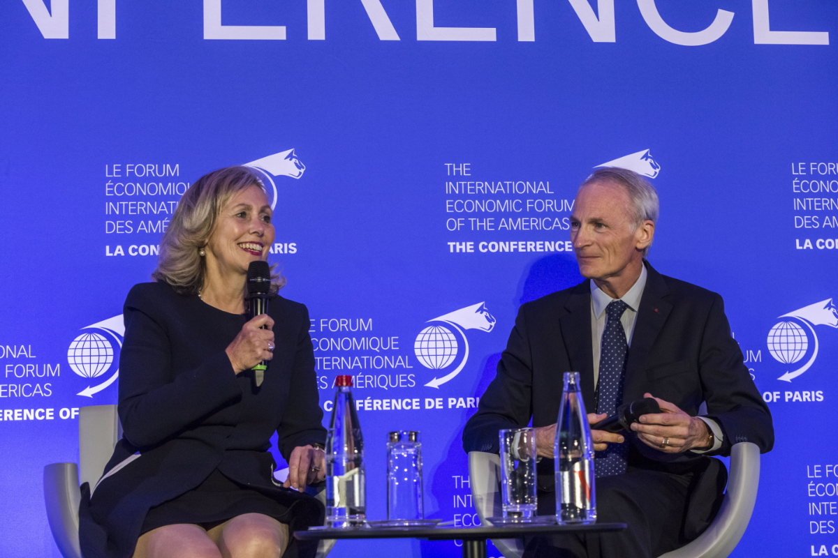 Monique F. Leroux, Former President of Desjardins Goup, Chair of the Board of Investissement Québec and Vice-Chairman of Fiera Holdings Inc. & Jean-Dominique Sénard, Chief Executive Officer and Managing General Partner, Michelin - Conference of Paris 2018
