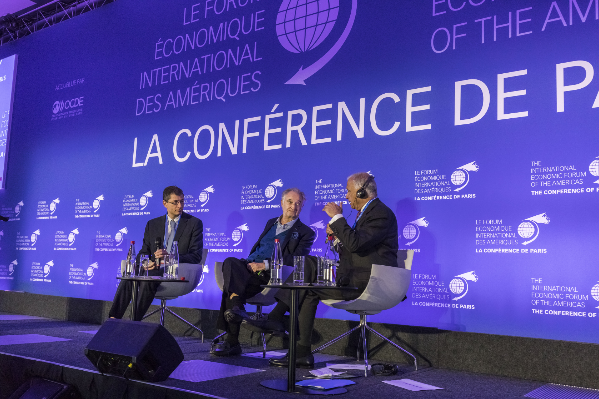 Jacques Attali, Economist, Writer; and President, Positive Planet; Shaukat Aziz, Prime Minister of Pakistan (2004-2007); Member of the Advisory Board, Asian Infrastructure Investment Bank (AIIB); and International Adviser, China Investment Corporation (CIC), and Fabrice Nodé-Langlois, Chief Editor, International Economy, Le Figaro